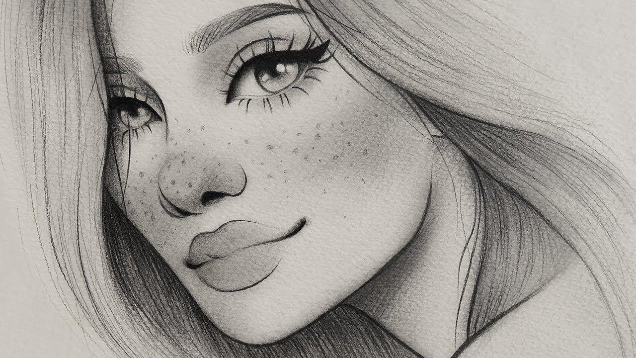 تعلم الرسم كيف ترسم بورتريه بنت مبتسمه بالرصاص رسم ملامح الوجة خطوة بخطوة للمبتدئين Youtube
