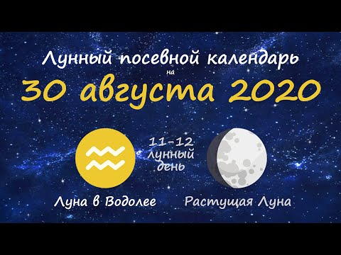 [30 августа 2020] Лунный посевной календарь огородника-садовода