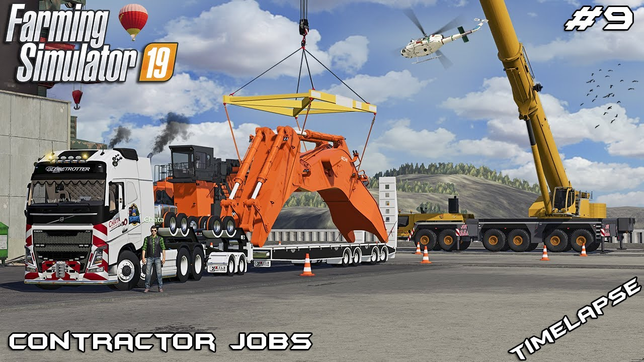 Transporting EXCAVATOR in PARTS with CHATA | Contractor Jobs | Farming Simulator 19 | Episode 9