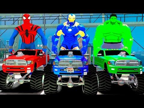 Monster Trucks Colors & Hulk IronMan Spiderman Custom & Nursery Rhymes ABC Songs Children's songs
