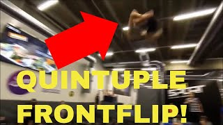 WORLD'S FIRST QUINTUPLE FRONTFLIP ON TRAMPOLINE! *CRAZY FLIPS*