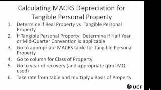 Tax - MACRS for Tangible Personal Property, 2 of 3