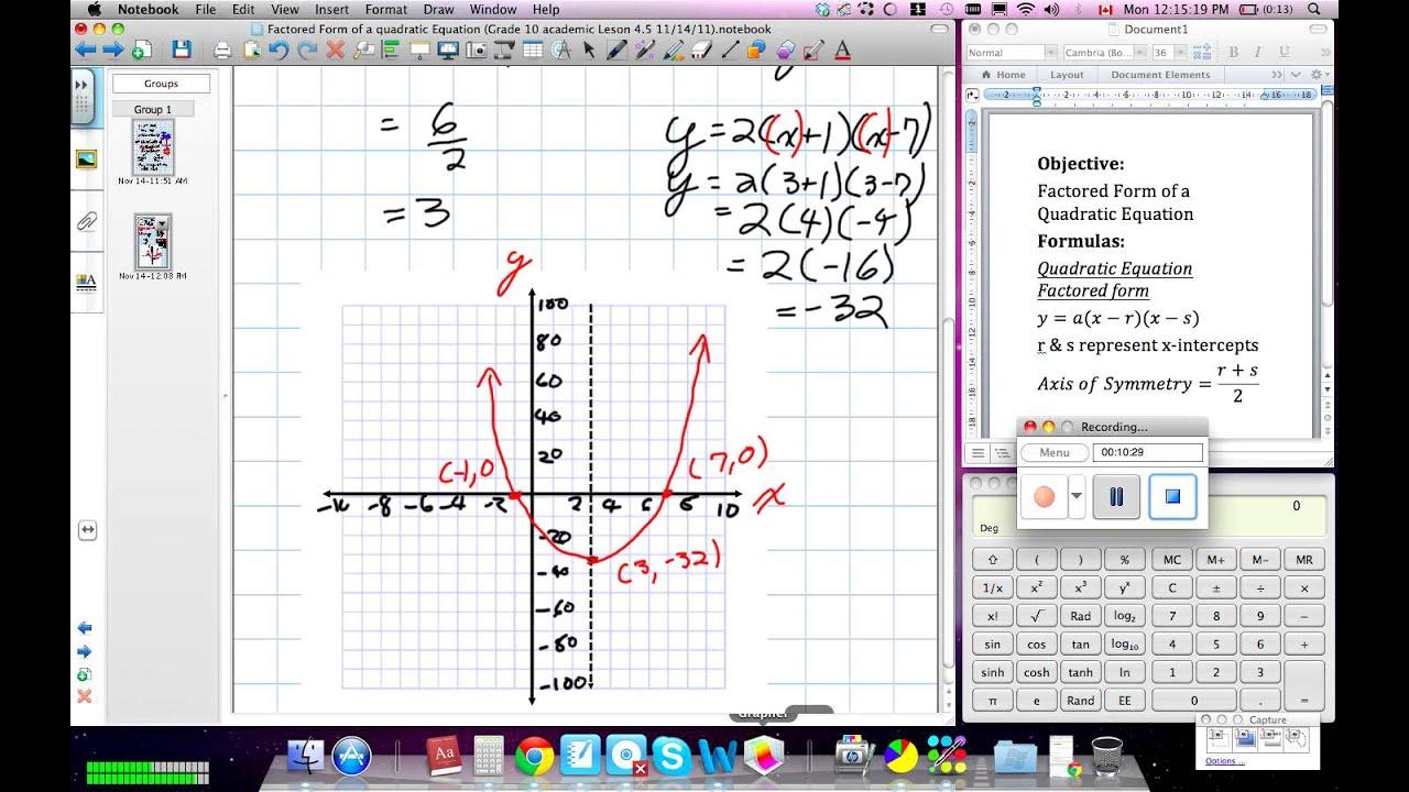 Factored Form Of Quadratic Equation Grade 10 Academic Lesson 4 5 11 14 11