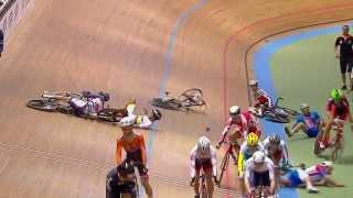 Huge Crash Mens Omnium Elimination Race - 2014 UCI Track Worlds