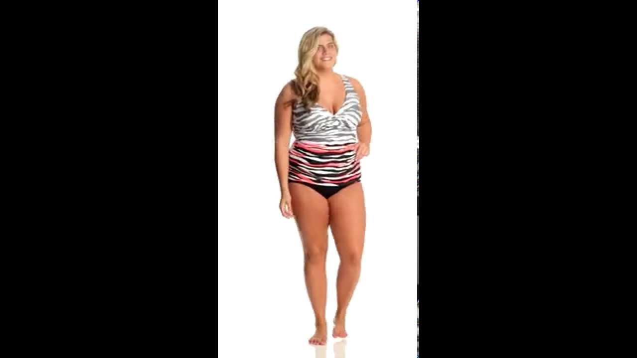 f010a4448e Anne Cole Plus Size Zebra Dot Twist Front Underwire Tankini ...