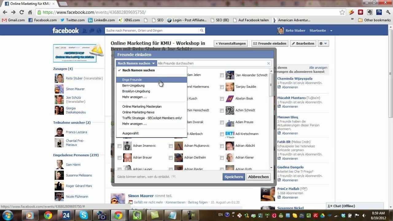 alle freunde zu einem event bei facebook einladen - youtube, Einladung