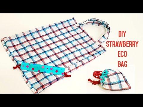 Diy strawberry shopping bag | Reusable/Magic storage/Easy sewing【草莓购物袋】造型非常可爱,赶快收藏吧!#HandyMum ❤❤