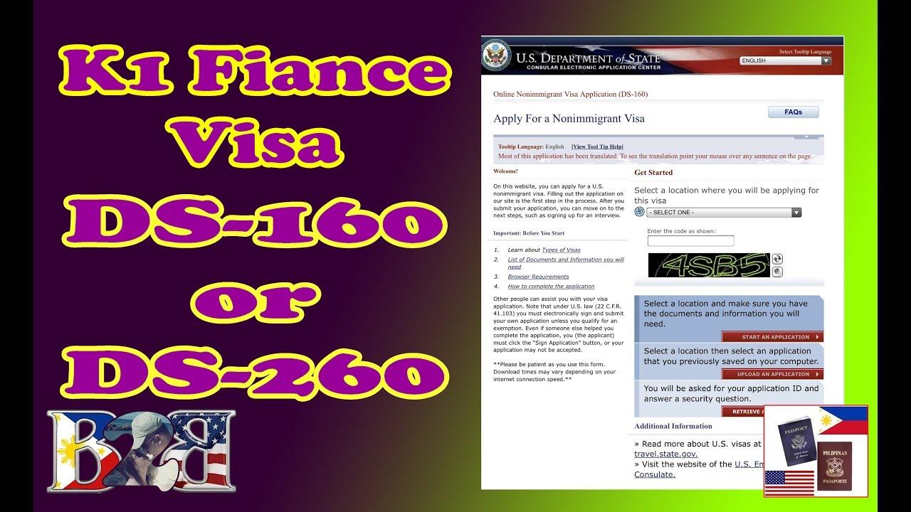 DS-160 or DS-260 | K1 Visa | Online Nonimmigrant Visa Application Form