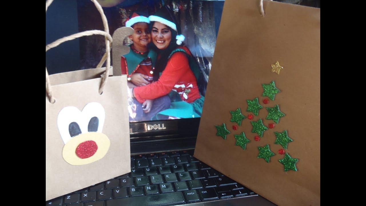Bolsas navide as youtube - Como decorar bolsas de papel ...