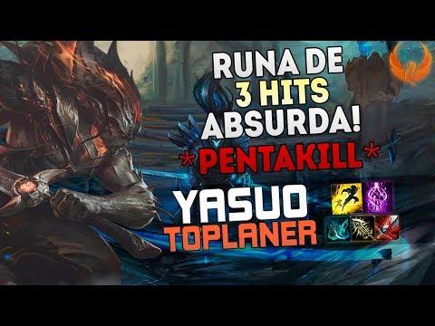 RUNA DE 3 HITS ABSURDA! PENTAKILL🔥!!! YASUO TOP GAMEPLAY [PT-BR]