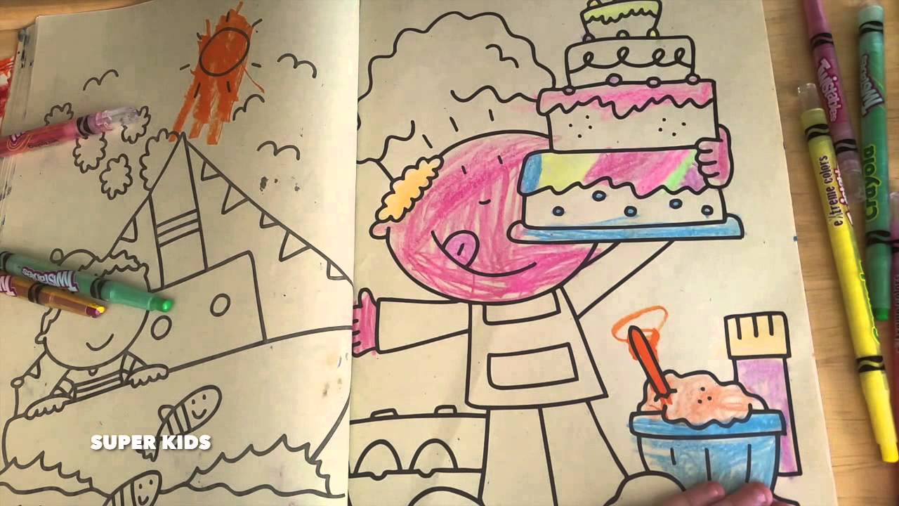 crayola gigantic coloring book and crayola twistables chef with birthday cake youtube