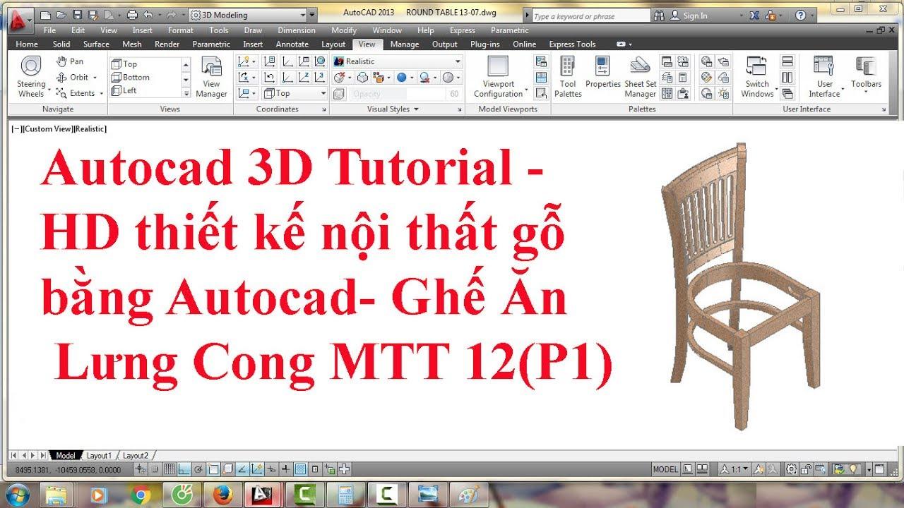 Thiết kế nội thất gỗ-Dựng bản vẽ CAD 3D từ 2D-Ghế  Ăn (phần 1)