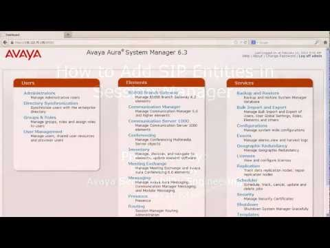 How to Add a SIP Entity in Session Manager - YouTube