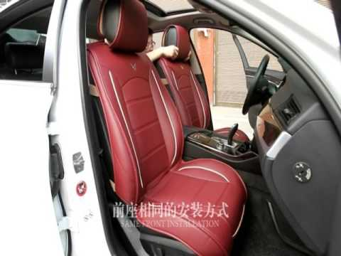 Car Seat Cover Full Set Needlework PU Leather Black Red For 5