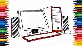Computer Drawing How to Draw And Paint Computer  Coloring Book Fun Painting