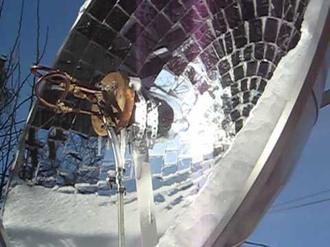 Solar concentrator with mirrors real free energy - test in artic conditions