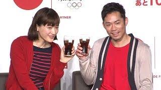 女優の綾瀬はるかとフィギュアスケーターの高橋大輔が、「コカ・コーラ...