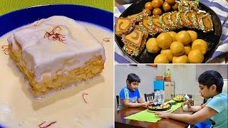 Weekday moments | Eggless Saffron Milk Cake ( Tres Leches ) | A plate of sweet treats for my kids