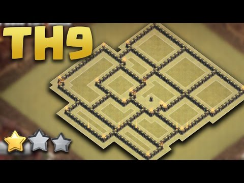 TOWN HALL 9 NEW WAR BASE (TH9 War AnTi 3 Star ) 2016 + Defence Replays