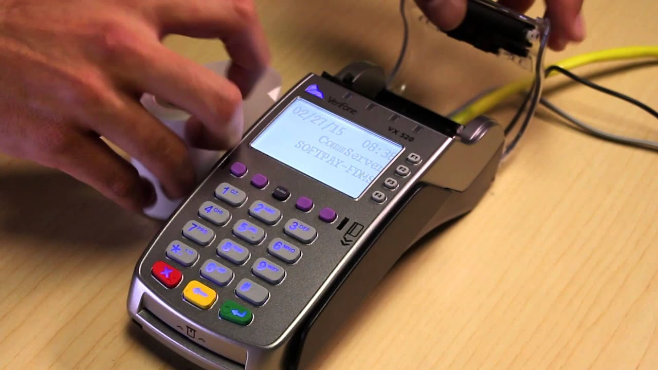 vx520 how to load paper in credit card terminal for small