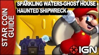 New Super Mario Bros. U 3 Star Coin Walkthrough - Sparkling Waters-Ghost House: Haunted Shipwreck