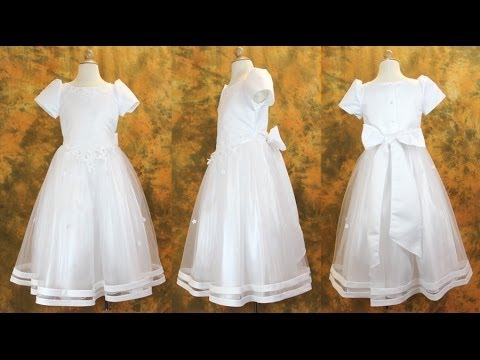 Plus Size First Communion Dress in Satin and Tulle - LCDPL1005