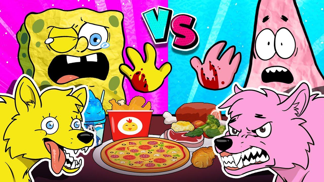 Pink Food Vs Yellow Food💖💛 Mukbang Animation🐺🍕Werewolf Mukbang! SpongeBob Animation   SLIME CAT