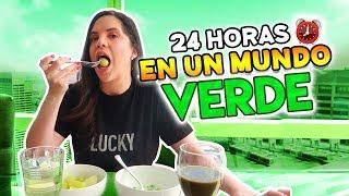 24 HORAS COMIENDO Y VIVIENDO EN UN MUNDO VERDE! 🥑🍏 | Camila Guiribitey
