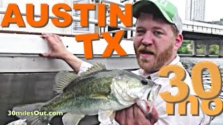 30milesOut.com -  KAYAK BASS FISHING  AUSTIN TEXAS town lake, how to bass fishing