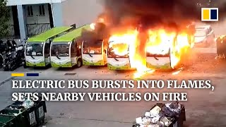 Electric bus bursts into flames, sets nearby vehicles on fire in China