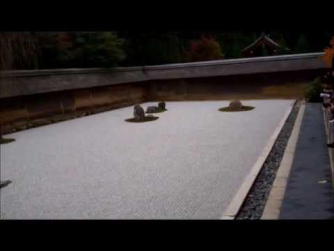 Dry Landscape Rock (karesansui) Style Zen Garden at Ryoanji Temple, Kyoto city