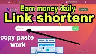 Shrtfly new account create link copy paste work money earning best tips online ceiling to on thousand view $5 referral 30% bonus website lin...