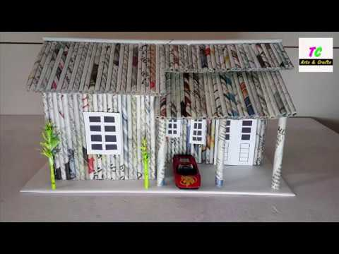 How To Make House From Newspaper Ll Diy Ll Newspaper Craft Ideas Ll