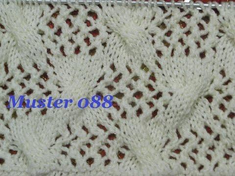 Muster 088*Stricken lernen*Ajourmuster Muster für Pullover Strickjacke Mütze Stirnband