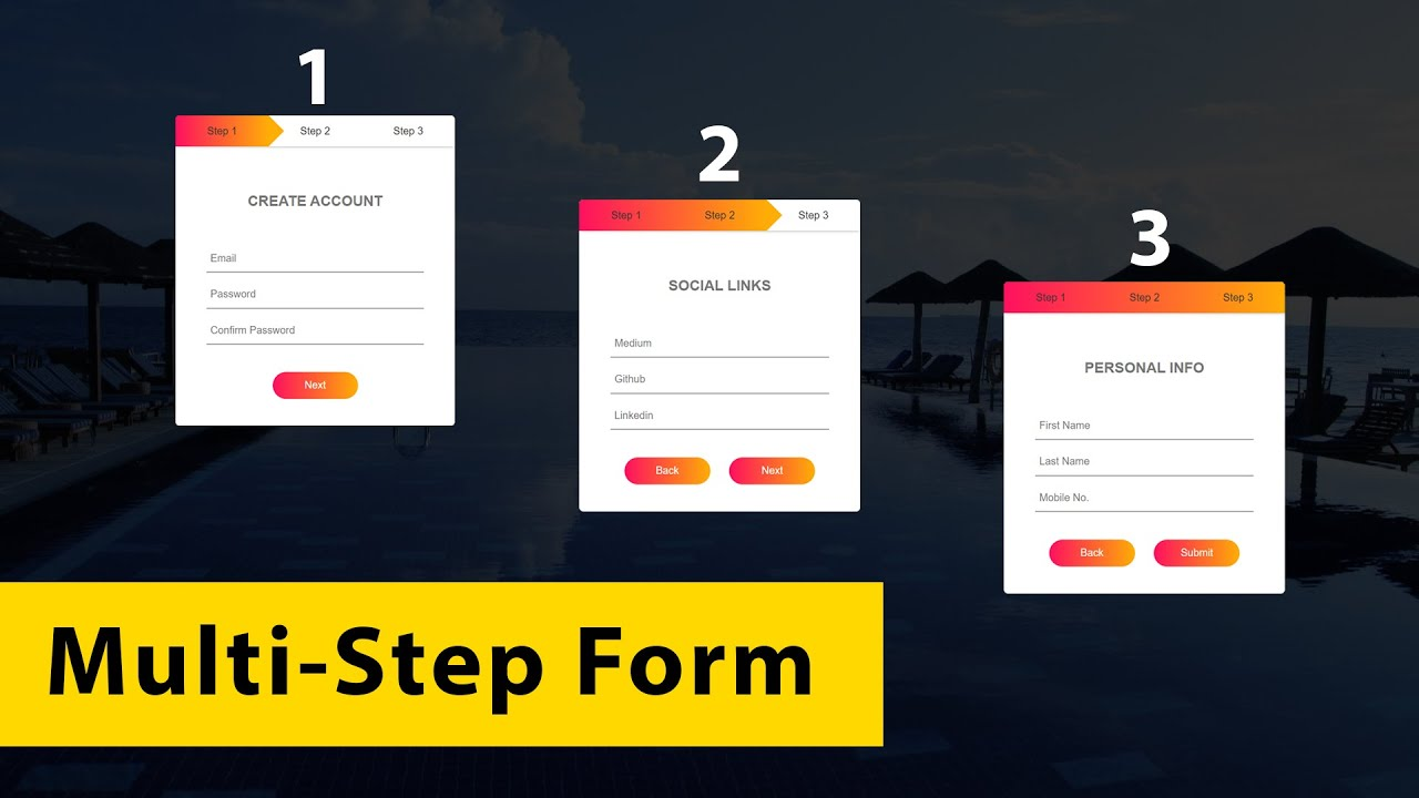 How To Make Form (Multi-Step) Using HTML CSS & JS