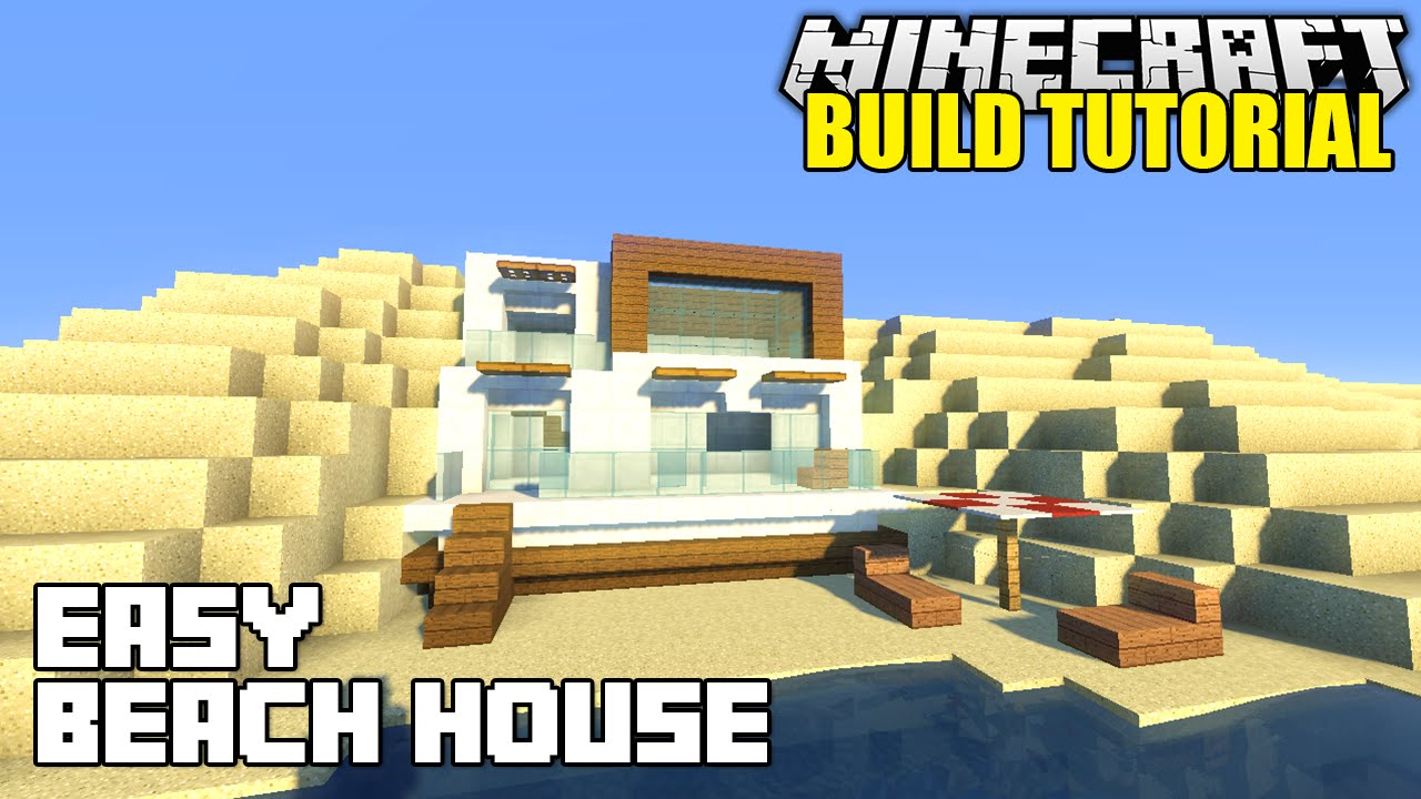 Minecraft how to build a beach house tutorial simple for How to build a beach house