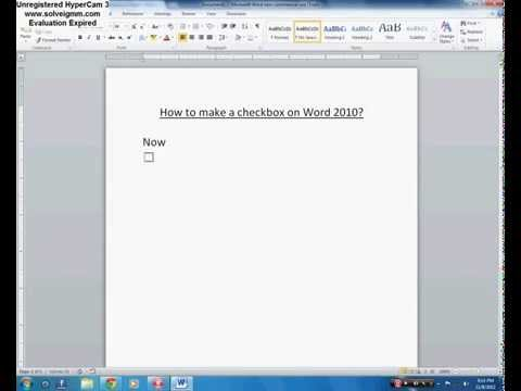How to make a checkbox on Word 2010?