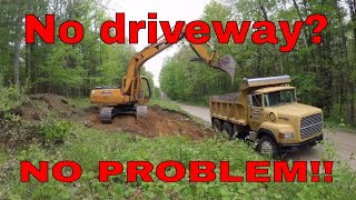 Using an excavator to put in a difficult driveway