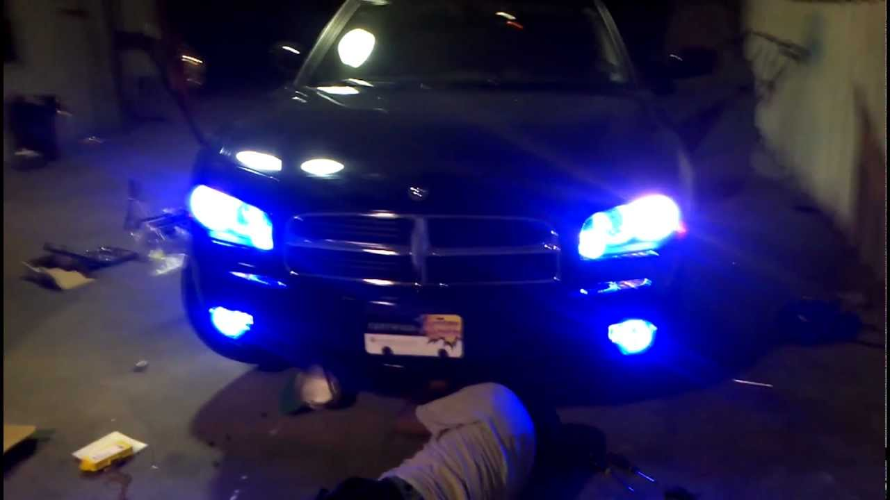 Black Car Lights Wallpaper Blue Oracle Halo Lights Installed On 2010 Dodge Charger By