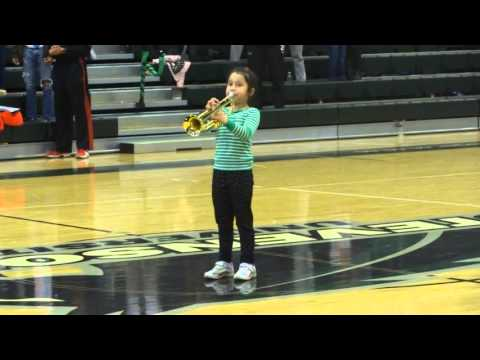 Trumpet Prodigy, Judy Dove Alleva, Age 7, Performs The Star Spangled Banner for Stevenson University