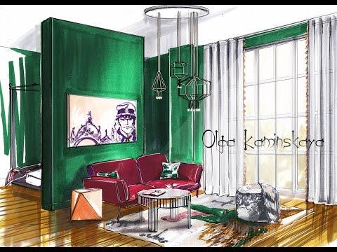 Скетч комнаты маркерами. Рисуем интерьер с помощью Adobe Photoshop. A Sketch Of The Room Markers