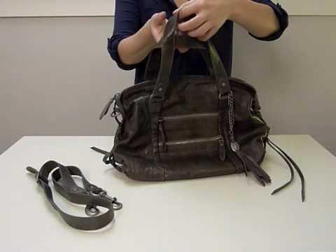 Olivia Harris Washed Leather Knot Satchel