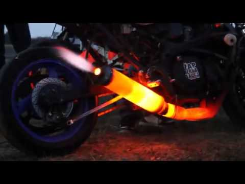 MOTORBIKE EXHAUST PIPE BURNING AND MELT  ( BIKE EXHAUST SYSTEM IN FIRE )