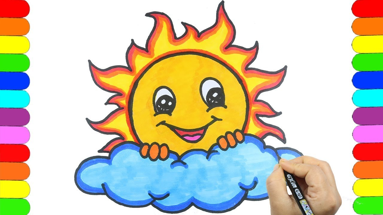 How to Draw Cute Sun Easy and step by step🌞💗🌞 Sun Drawing ...