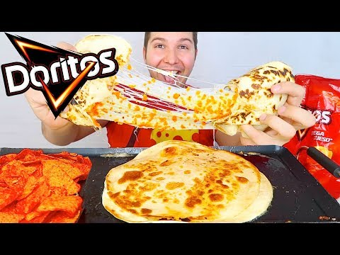 GIANT HOT DORITOS CHEESE QUESADILLA • Mukbang & Recipe