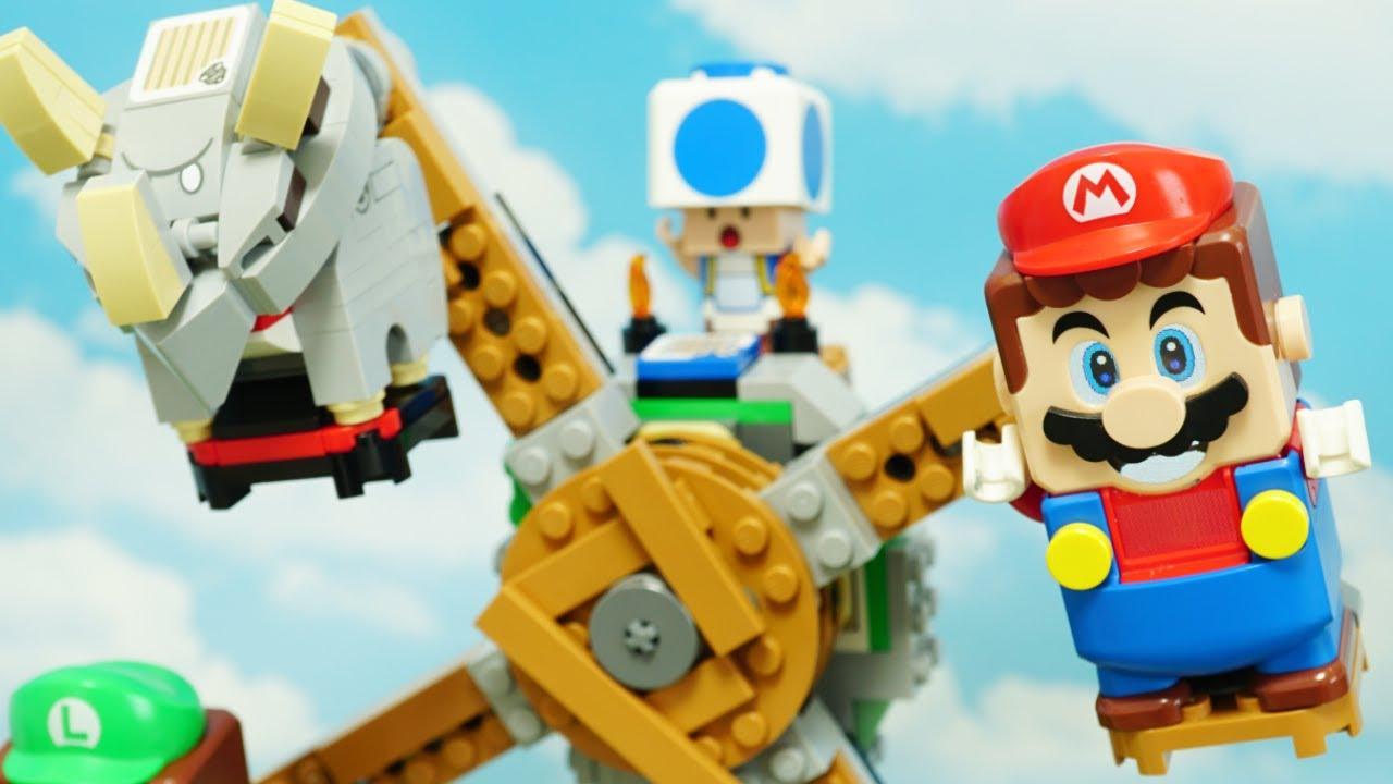 LEGO Super Mario stopmotion anime!「Reznor Knockdown」part2「めざせ てっぺん! ブイブイ の リフト チャレンジ 」後編