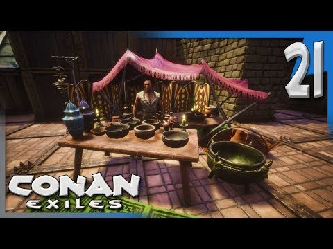 A MERCHANT MOVES IN & DESIGNER STORAGE! | Conan Exiles Multiplayer Gameplay/Let's Play S4E21