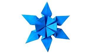 Snowflake origami Оригами Снежинка из бумаги. Елочное украшение на Новый год 2018