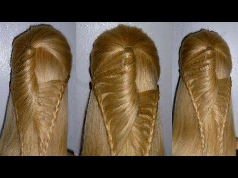 Веер Причёска с плетением косичек для средних/длинных волос. Причёски для девочек в школу
