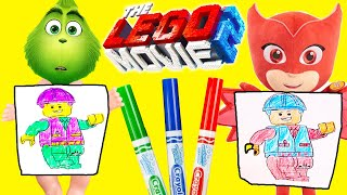 The Lego Movie 3 Marker Challenge with Baby Grinch, PJ Masks Owlette and Crayola Crayons